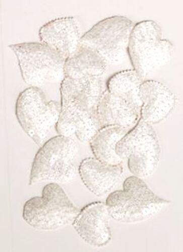 18 Glitter Sequin Heart Embellishments For Card Making Craft Choice Colour