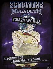 "SCORPIONS / MEGADETH ""CRAZY WORLD TOUR"" 2017 SALT LAKE CITY CONCERT POSTER-Metal"