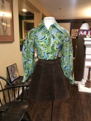 Vintage 1960's Paisley Blouse With Leg Of Mutton S