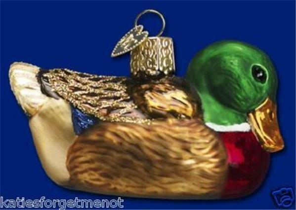 MALLARD DUCK OLD WORLD CHRISTMAS GLASS BIRD AVIARY WILDLIFE ORNAMENT NWT 16017