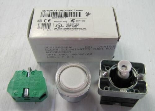 AUTOMATION DIRECT PUSH BUTTON FLUSH CLEAR ILLUMINATED GCX1205-24L GCX120524L NIB