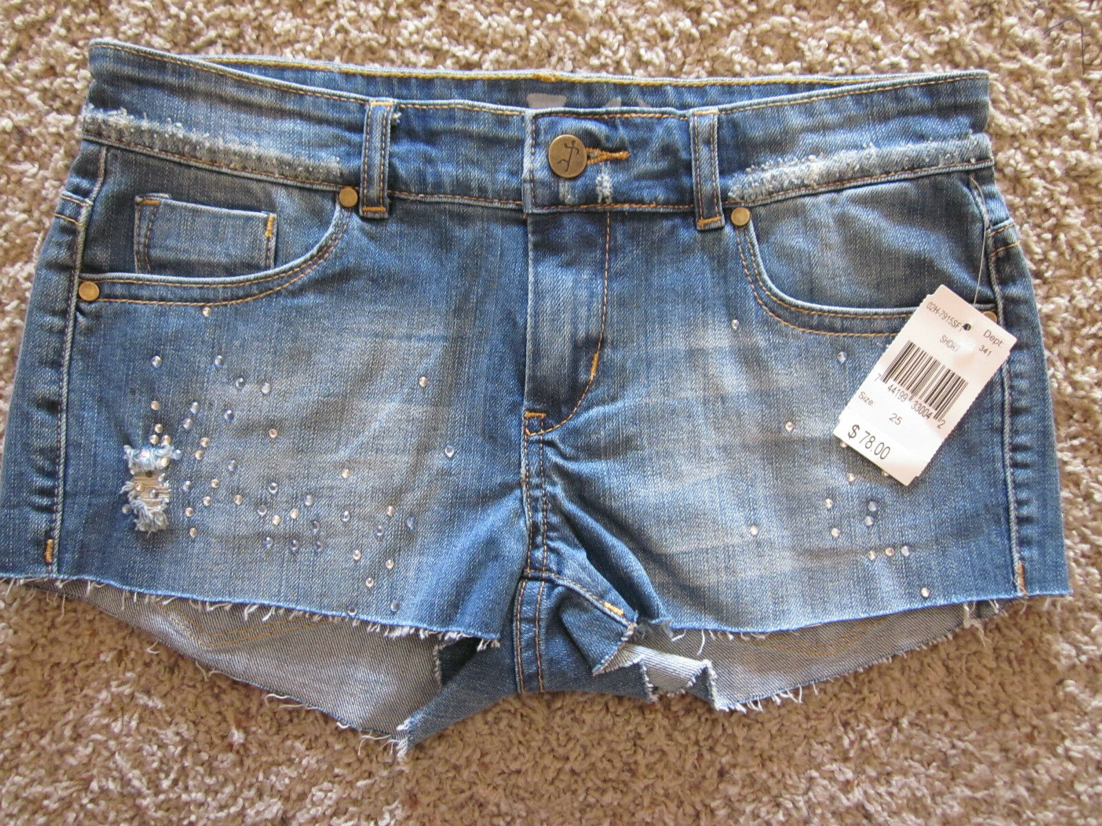 SL8 Cut Off Shorts Destroyed Embellished Faux Gems Size 24in.Waist 2in.In NWT