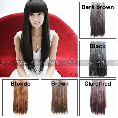 """23"""" Women One Piece Long Straight 5 Clips In Hair Extensions Hairpiece CD2012"""