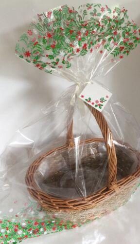 2 x CHRISTMAS HAMPER BASKET Gift Cake CELLOPHANE DISPLAY BAGS Large With Ties