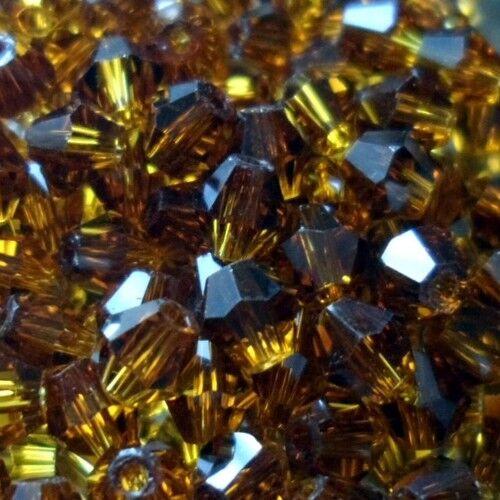 SMOKED TOPAZ 25 Perles Cristal TOUPIES SWAROVSKI 4mm