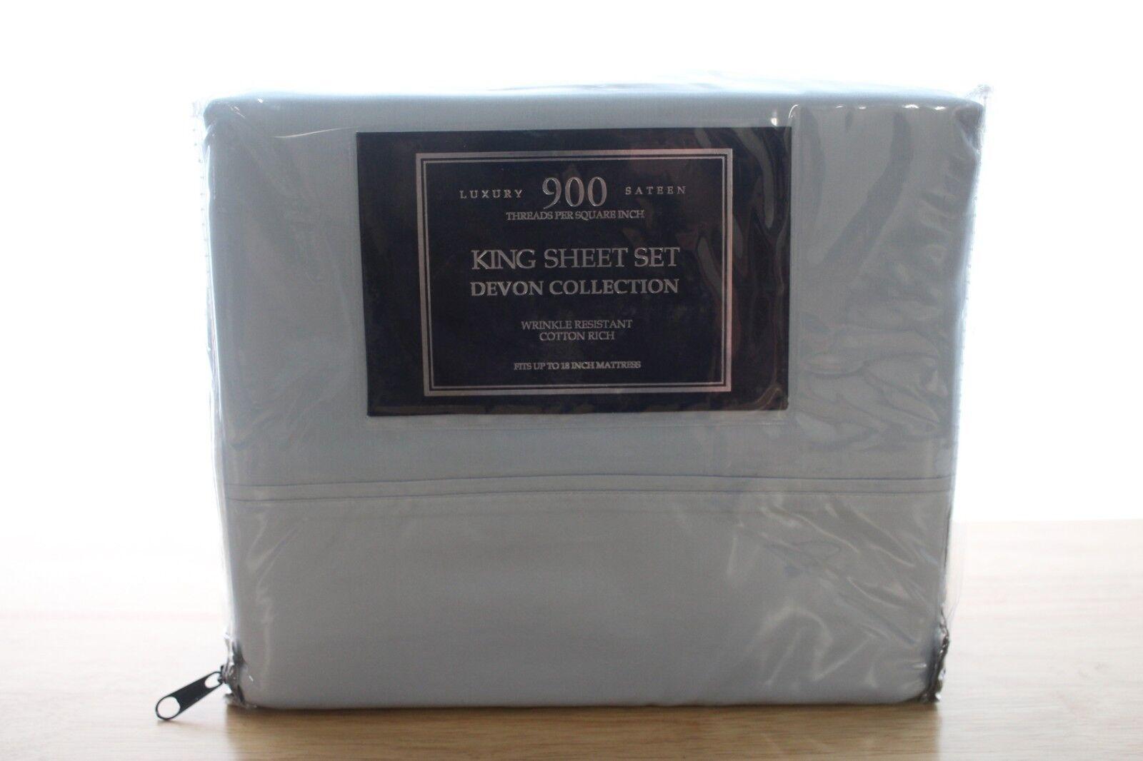 AQ Textiles Devon 900 TC Cotton Blend KING Sheet Set blueeeeE Bedding  190 i2028