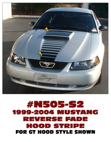 REVERSE HOOD FADE with SCOOP BLACKOUT N505-S2 1999-04 FORD MUSTANG S2