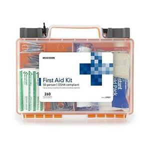 McKesson First Aid Kit, 260 Pieces, OSHA Compliant 50 Person Kit for Car, Home,