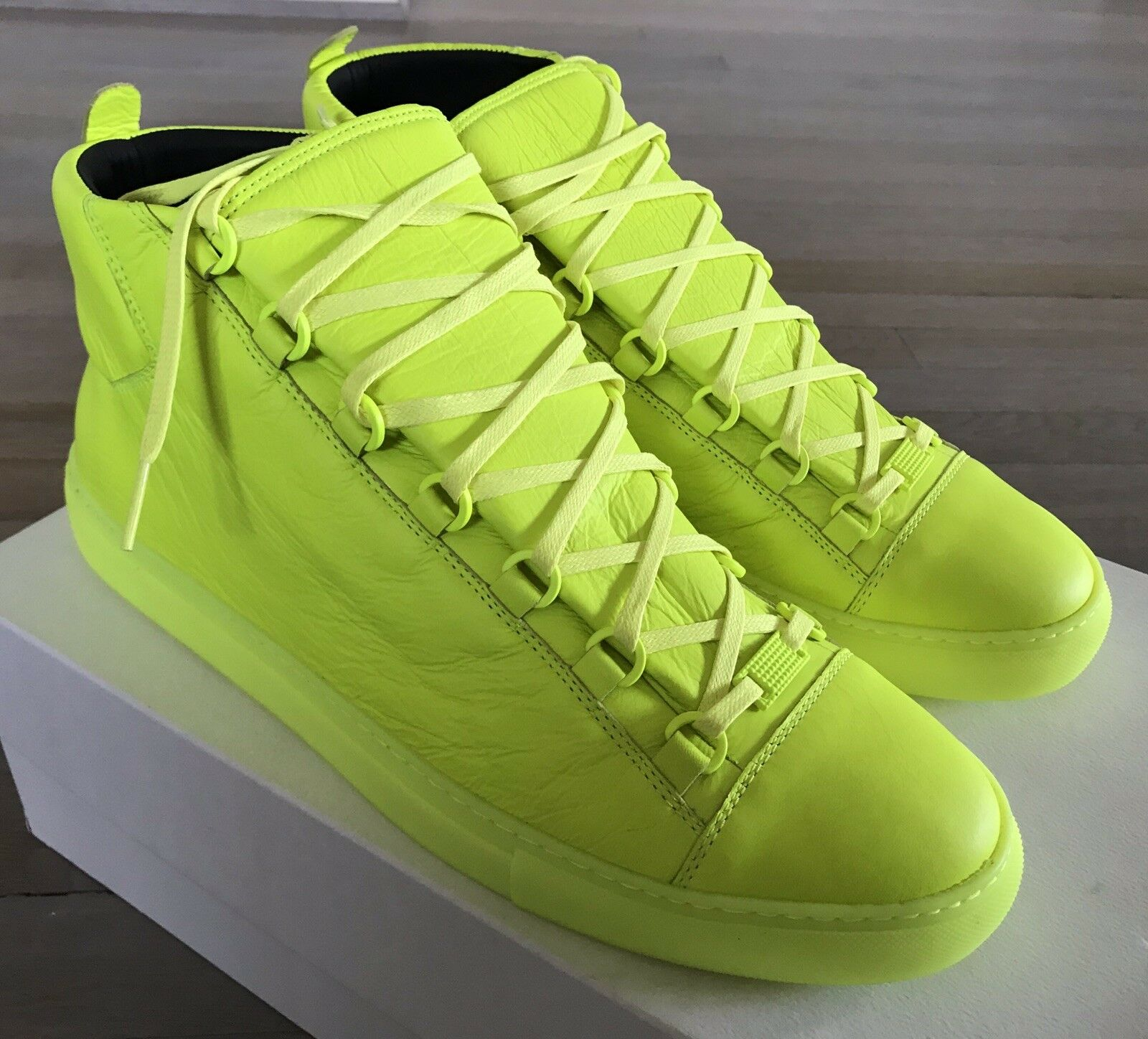 600  Balenciaga Arena Fluorescence Leather High Tops Sneakers size US 14, EU 47
