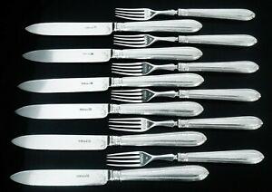 12-Antique-Silver-Dessert-Knives-amp-Forks-CRESTED-1867-Martin-Hall-amp-Co