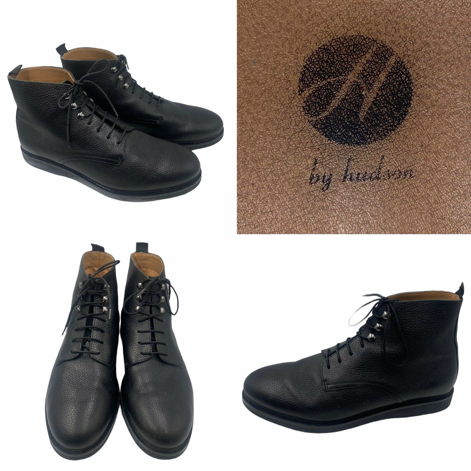 H by Hudson Mens Size 12 46 Battle Boots in Black Leather Lace Up
