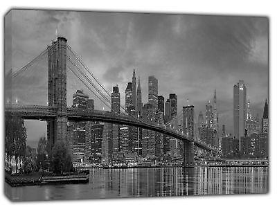 NEWYORK BROOKLYN BRIDGE IN B/&W  PICTURE  PRINT ON WOOD  FRAMED CANVAS WALL ART