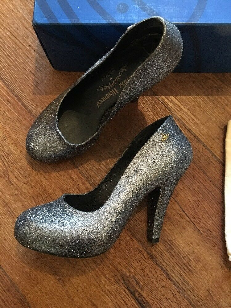 BNIB Vivienne Westwood Anglomania Courts Melissa Skysraper lll Grau Glitter Courts Anglomania 4 dcc36a