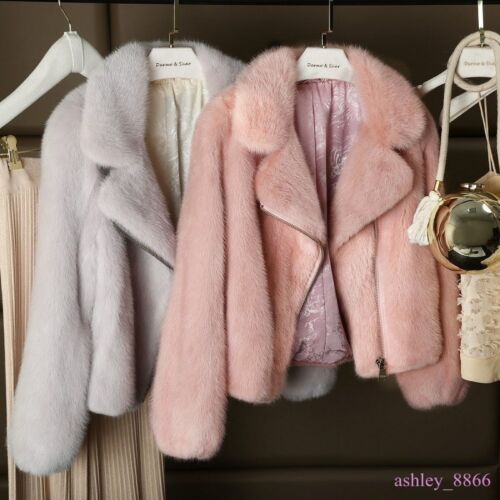 Womens Faux Mink Fur Lapel Short Jacket Winter Warm Coat Thiken Furry Parkas