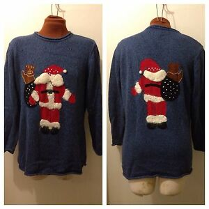 Details about Quacker Factory Medium Funny Christmas Sweater Santa Blue M  Ugly