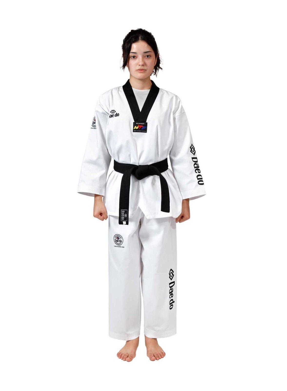 Daedo Seoul Style Taekwondo Dobok TA 1045 200 7 7 7 Anzug Uniform schwarzer Kragen 56f0ae