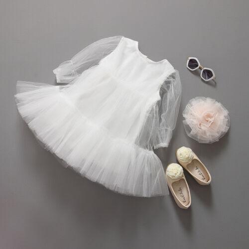 Kids Girls Long Sleeve Sheer Lace Dress White Pink size 2//3