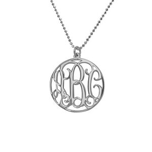 Monogram-Necklace-Personalized-Circle-1-inch-in-Sterling-Silver-USA-Seller