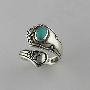 flower spoon ring 925 sterling silver turquoise