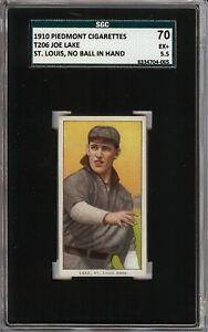Rare 1909-11 T206 Joe Lake No Ball Hand Piedmont 350 St Louis SGC 70 / 5.5 EX+
