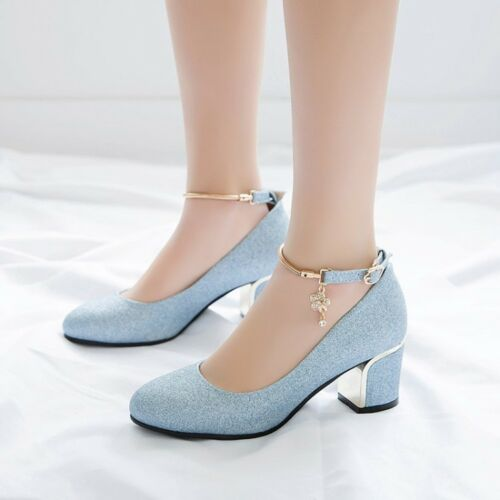 Sweet Ladies Block Heels Ankle Strap Metal Decor Spring Casual Dress Shoes Size
