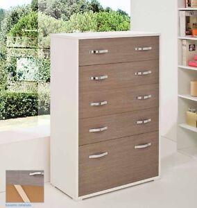 Settimino gigante da camera 4 cassetti + ribalta bianco larice grigio in legno