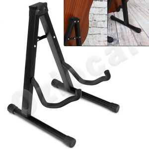 Portable-Folding-Electric-Acoustic-Bass-Guitar-Stand-Floor-Rack-Gig-Holder-Black