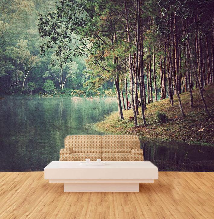 3D Bois Riverside 7 Photo Papier Peint en Autocollant Murale Plafond Chambre Art