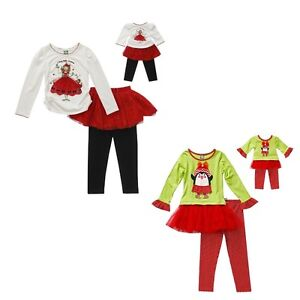 New DOLLIE ME Top Leggins Christmas SET 5 6 6X 7 8 10 FITS AMERICAN GIRL DOLL