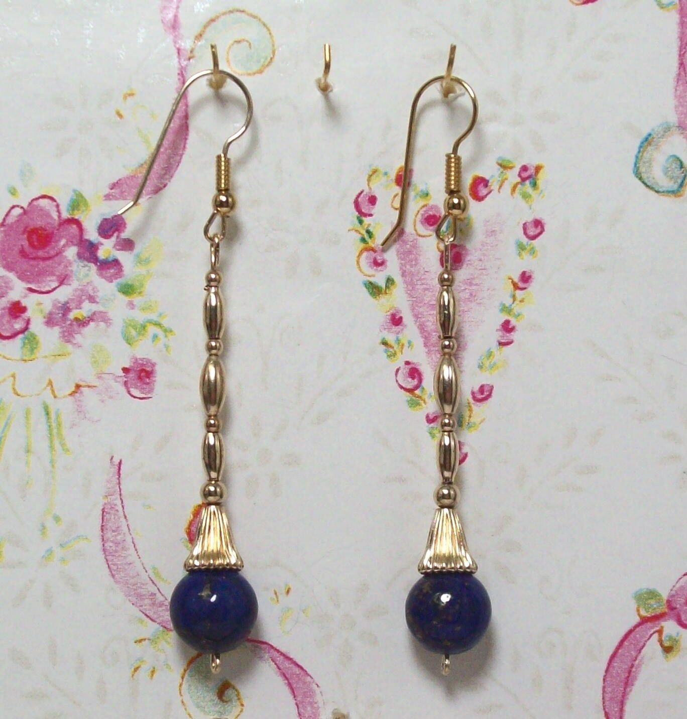 Lapis Lbluei Beaded Earrings With 14K gold Filled 2 3 4  Long. LAPGF008