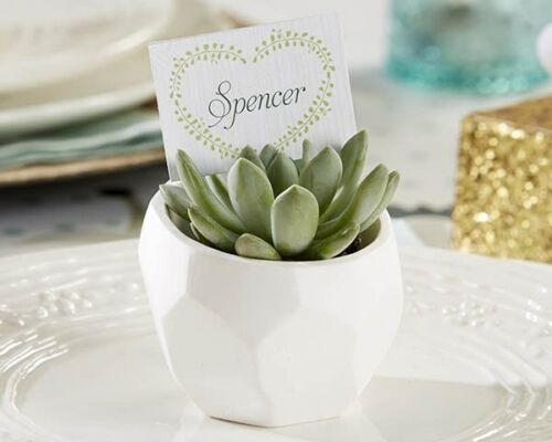 60 Modern Garden White Geometric Plaster Pot Wedding Bridal Shower Party Favors