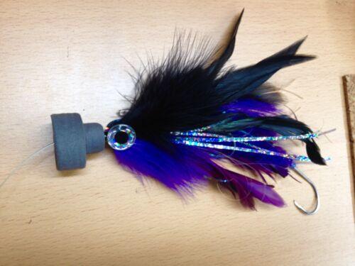 Black//Purple Sigler-type Marlin//Sailfish Tube Rigged c//w Popper 7-inch
