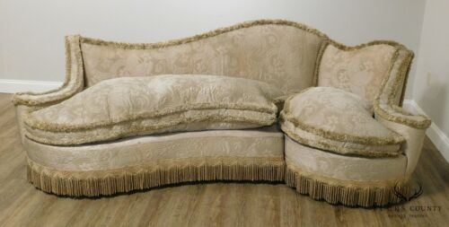 Hollywood Regency 1950's Unusual Curved Sectional Sofa & Chair Set