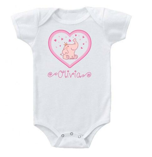 Heart Elephant Baby Onesie Bodysuit Short Sleeve Personalized Name 0-3 3-6 month