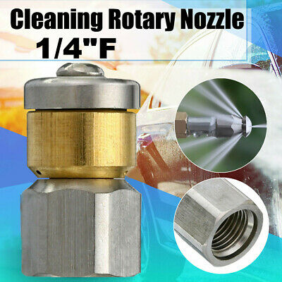 "Steel Pressure Washer Drain Cleaning Rotary Nozzle 1//4/""F BSP 3 Rear Jet Size 06"
