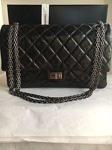 619cba10016e Auth Preloved Chanel Reissue 2.55 Classic Flap Bag Black Metallic ...