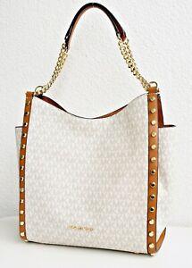 Details about Michael Kors Bag Newbury Md Chain Shoulder Tote Bag Vanilla Acorn New