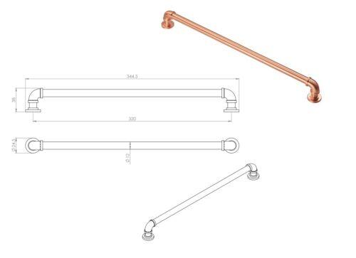 Drawer Cabinet Kitchen Cupboard Door Pipe handle Nickel Copper Black Pewter
