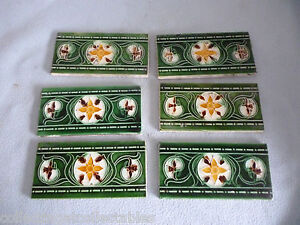 Antique-Reclaimed-Set-Of-Six-Art-Nouveau-Border-Tiles
