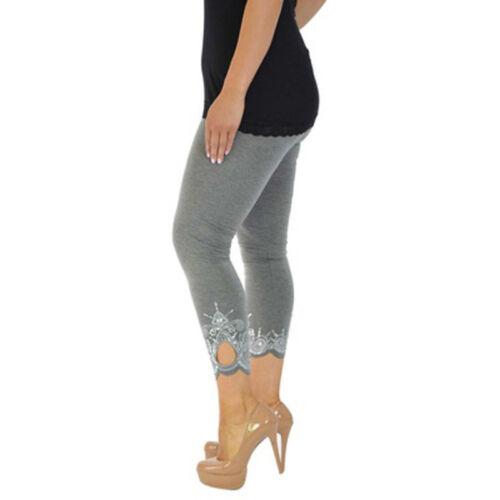 Womens Ladies Slim Fit Skinny Capri Pants Cropped Trousers Leggings Waist Summer