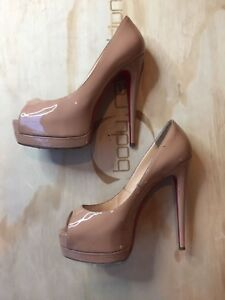 9970d9a0843 Details about Christian Louboutin, Prive Leather, Peep toe, Nude, Size 37.5