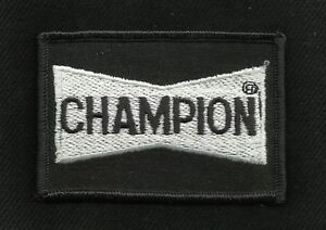 CHAMPION SPARK PLUGS GREASER RACING ROCKABILLY HOT ROD BIKER PATCH BLACK NOS