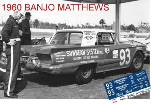 CD/_682 #93 Banjo Matthews  1960 Thunderbird    1:64 scale decals