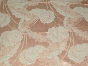 Vtg-1940s-Jacquard-Drapery-Fabric-Peach-Off-White-Feathers-Motif-42-034-x-1-5-Yds