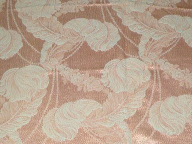 Vtg 1940s Jacquard Drapery Fabric Peach Off White Feathers Motif 42