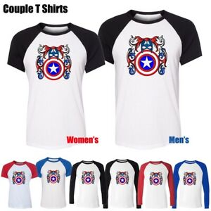 Cool-Captain-America-Super-Soldier-Shield-Graphic-Tee-Women-039-s-Men-039-s-T-Shirt-Tops