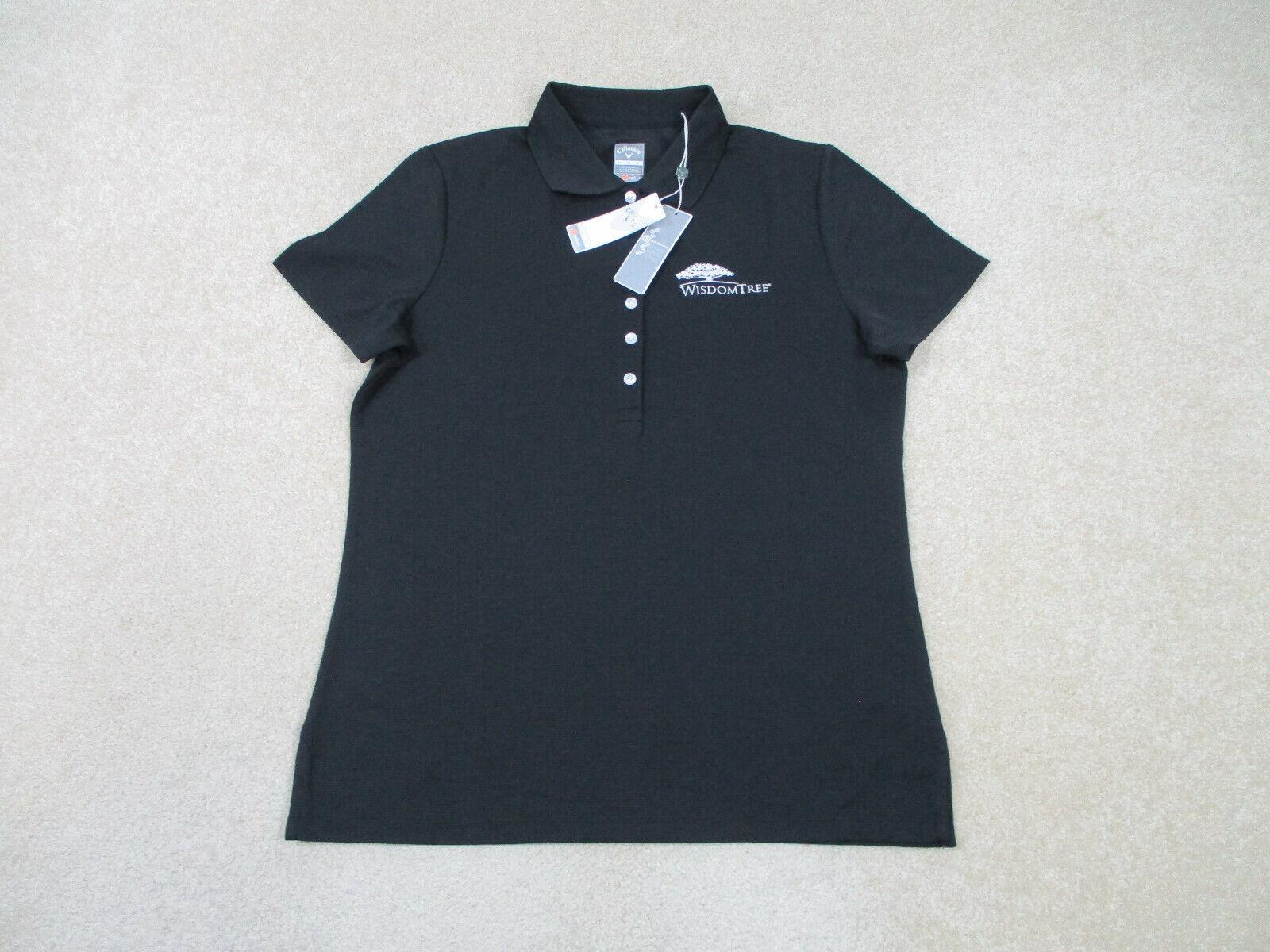 NEW Callaway Polo Shirt Women Medium Black Lightweight Golfer Rugby Ladies