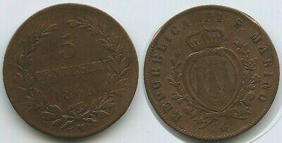 Münzen San Marino 5 Centesimi 1869 M Km#1 Mailand Erfrischung MüHsam G13390