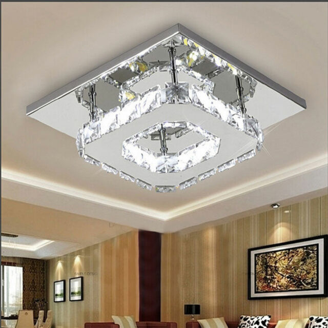 Modern Led Square Crystal Chandelier Pendant Lamp Ceiling Lighting Hallway