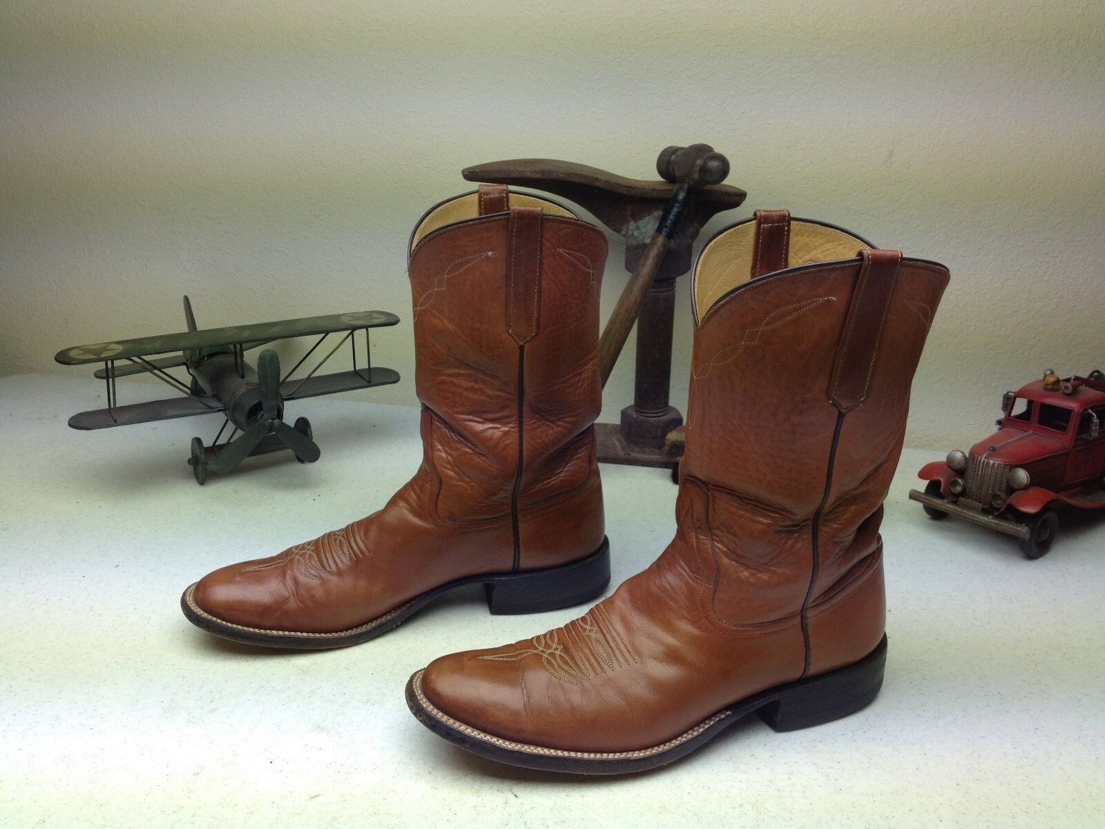 DISTRESSED RIOS of MERCEDS ENGINEER BROWN LEATHER WESTERN COWBOY BOOT 10.5 AA